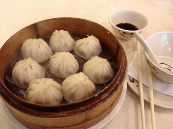 basket of xiao long bao dumplings