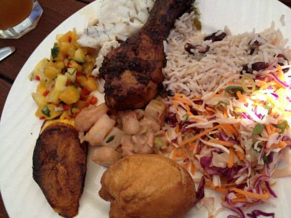 Plate of Jamaican food