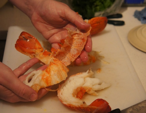 Preparing lobster tails